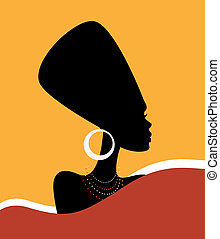 Queen Nefertiti - Beautiful Woman in hat. Portrait. Vector...