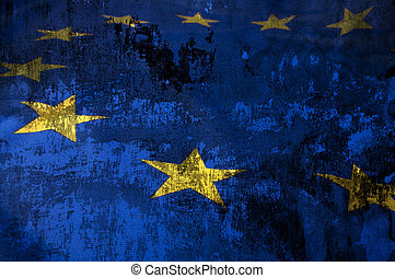 European Union Flag - Closeup of Grungy Flag of European...