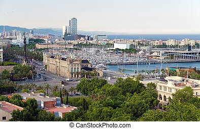 panorama of the city of Barcelona Spain - Panorama of the...