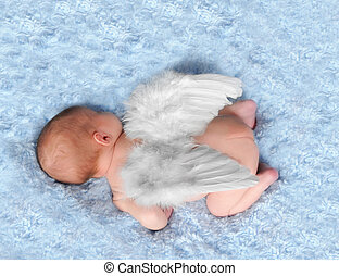newborn sleeping with angel wings on - newborn sleeping with...