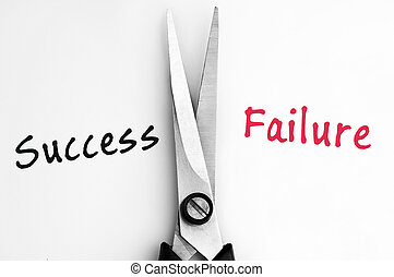Success and Failure words with scissors in middle