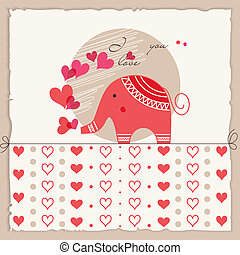 Valentine's day card, cute elephant in love