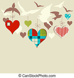 Birds and hearts vector illustration