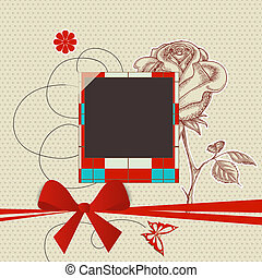 Scrapbook template with photo frame and red ribbon