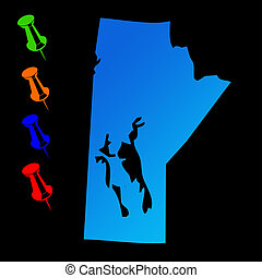 Manitoba travel map - Canadian state of Manitoba travel map...