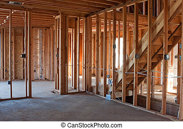 Unfinished New Construction Framing - Framed building or...