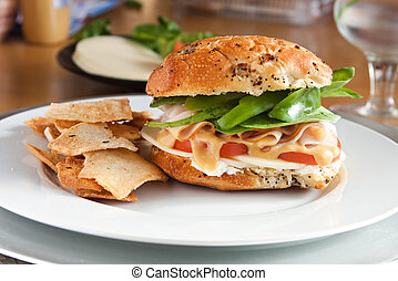 Delicious Turkey Sandwich and Pita Chips