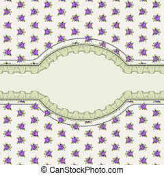 Postcard in the Provence style with patterned lavender and...