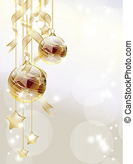 Gold baubles - Elegant Christmas background with golden...