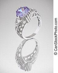 azul, anel, cinzento, Pedra preciosa