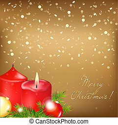 Gold Christmas Card With Red Candle