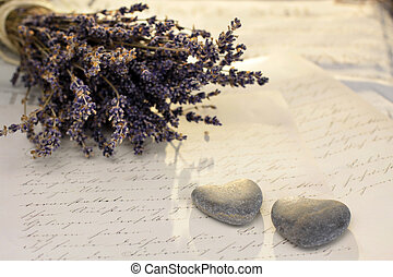 Stone hearts with lavender - Stone hearts with old letter...