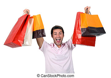 Man holding up shopping bags