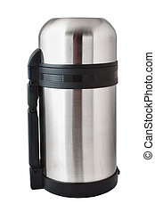 Thermos silver on a white background large