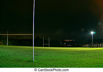 Rugby stadium at night