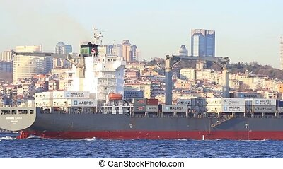 Container ship - Container Ship, sails with full of cargo in...