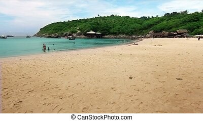 swimming in an exotic beach