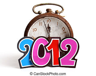 New Year 2012 - Clock approaching the New Year 2012 over...