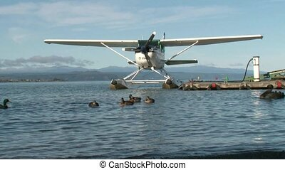 Floatplane - Lake Taupo 1 - Floatplane on Lake Taupo tied to...