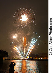 Lord Mayors Fireworks - Fireworks on the River Thames for...