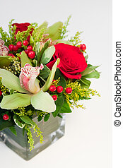 Festive Floral Arrangement - Flower arrangment in holiday...
