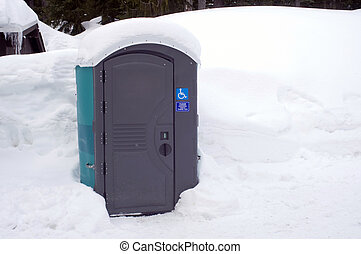 Port a Potty in a Snow Bank