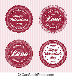 Valentine love labels - Set of vintage valentines day love...
