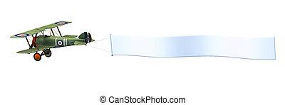 Biplane Pulling Blank Banner - 3D render of a biplane...