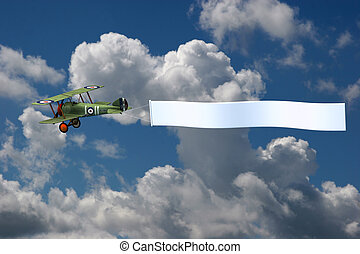 Biplane Pulling Blank Banner in Sky - 3D render of a biplane...