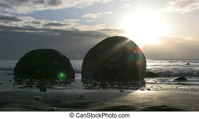 Moeraki Boulders 3 - The Moeraki Boulders are a group of...