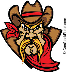Cowboy Mascot Head Vector Illustrat - Graphic Mascot Vector...