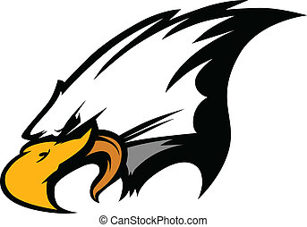 Mascot Head of an Eagle Vector Illu - Eagle Head Vector...