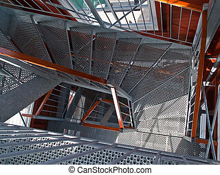 Staircase stairwell - Modern emergency escape staircase...