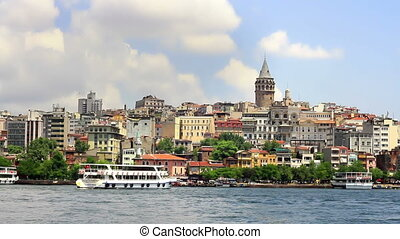 Galata Tower at Golden Horn - Passenger boat arrives to...