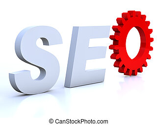 SEO with red cogwheel as O