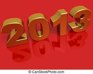 New year 2013 in gold over a red background