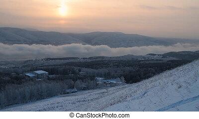 Winter scene 2 - Winter landscape. A fog. Trees in snow.