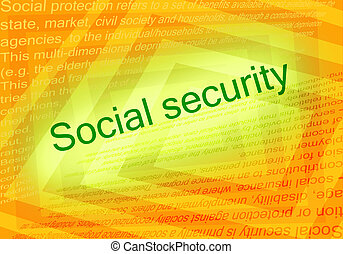 Social security text and orange background with text about...