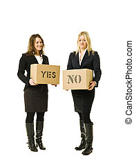 Yes or no Option - Two women with Cardboard boxes isolated...