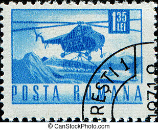 Mil Mi-4 helicopter - ROMANIA - CIRCA 1971: A stamp printed...