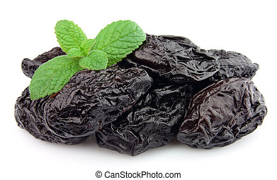 Prunes with mint on a white background