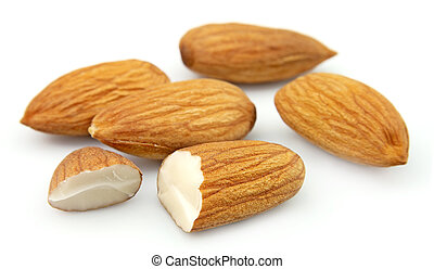 Almonds close up on the white