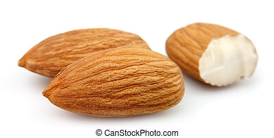 Dried almonds on white close up