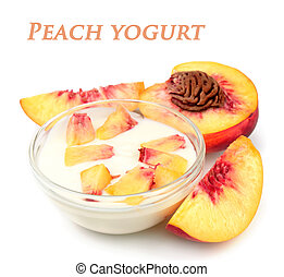 yoghurt with peach close up on white