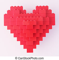 heart - A red heart of Lego brick