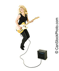 Woman playing guitar - Young woman playing electric guitar...