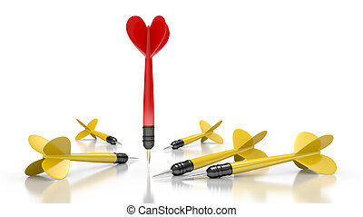 Dart to aim on white background. Leadership concept. 3d...