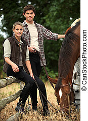 Young people and horses
