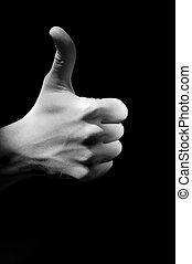 Hand fingers with upped big one foto - One hand fingers with...