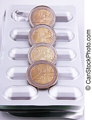 tablet packaging - Tablet packaging with 2 Euro coins